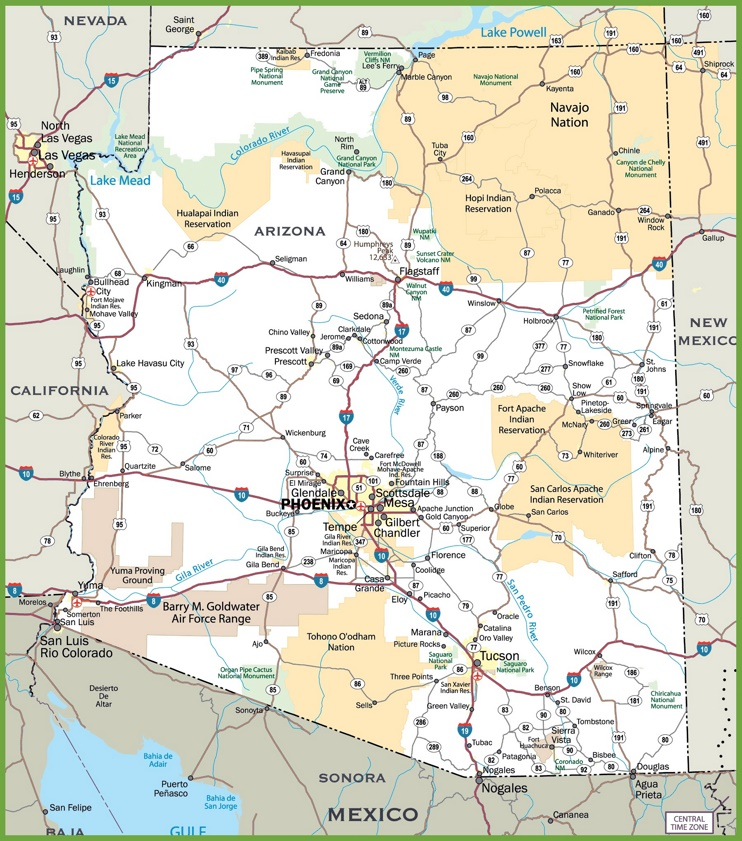 This map shows cities, towns, interstate highways, U.S. highways, state highways, main roads, secondary roads and indian reservations in Arizona.