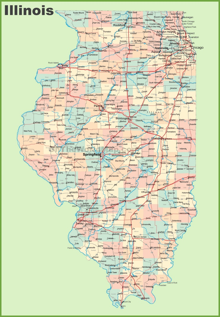 This map shows cities, towns, counties, interstate highways, U.S. highways, state highways, main roads and secondary roads in Illinois.