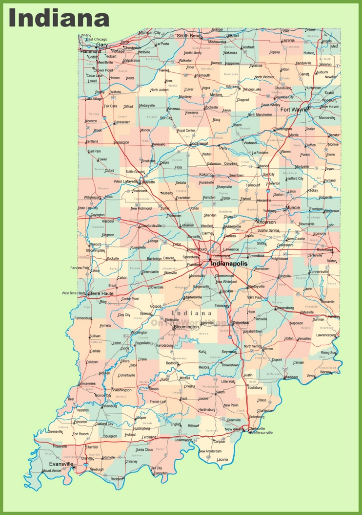 This map shows cities, towns, counties, main roads and secondary roads in Indiana.