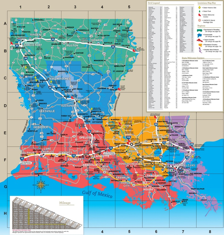 This map shows cities, towns, interstate highways, U.S. highways, state highways, main roads, rivers, lakes, state historic sites, state parks, state welcome centers and UNESCO world heritage sites in Louisiana.