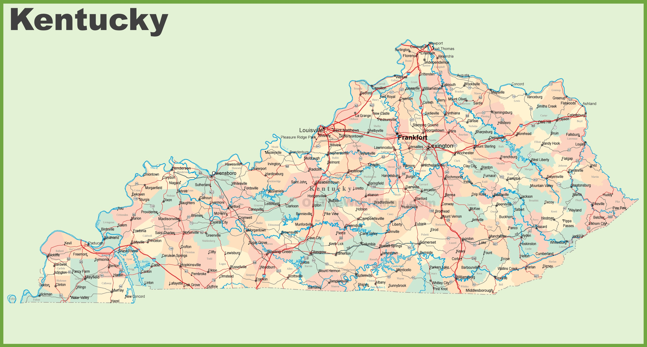 This map shows cities, towns, counties, main roads and secondary roads in Kentucky.